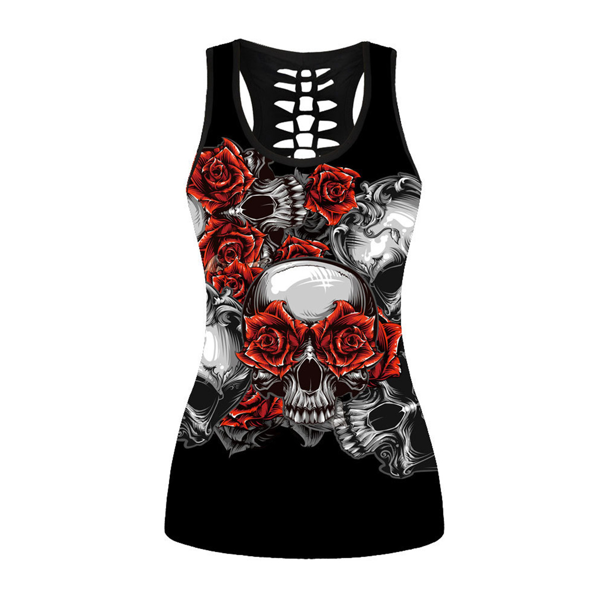 Dark Skull Rose Funny Tops Women Summer Clothing Retro Black Hollow Out Tank Top Sexy Vest Sleeveless Clothing Flower Hot New