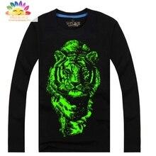 Top enfants t-shirt garçons loup tigre noctilucence T-shirt pour filles Lumineux t-shirt garçons enfants nuit brillant sport long T-shirts