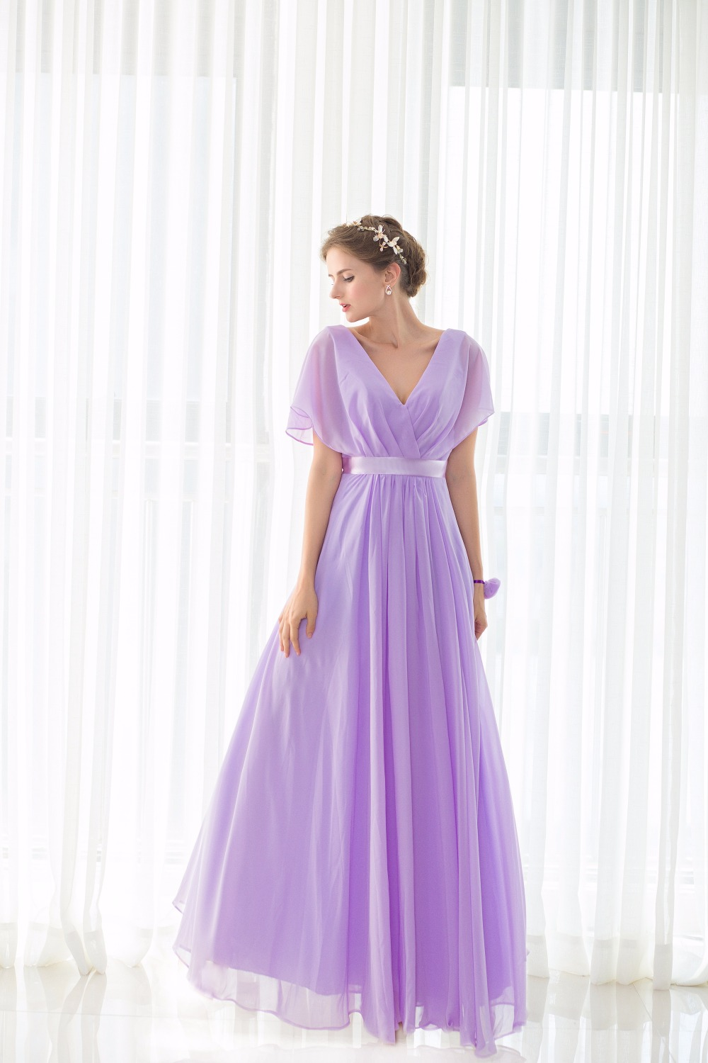 Real Pictures robe honneur Long Lilac Bridesmaid Dresses Short Sleeves V neck Floor Length Chiffon Bridesmaid Gown Free Shipping 5