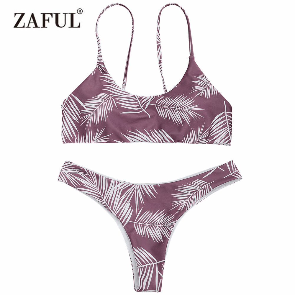 Zaful 2017 Women New Palm Leaf Cami Padded Bralette Bikini Set Sexy Low Waisted Scoop Neck Swimsuit Brazilian Swimwear