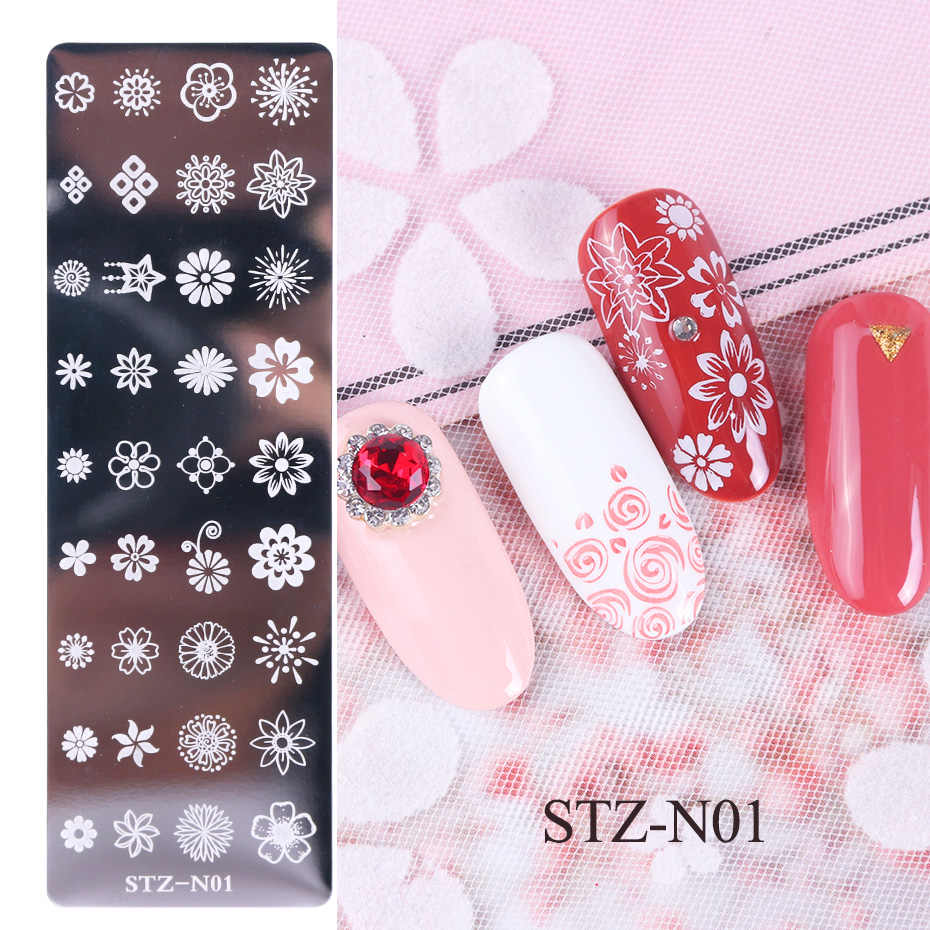 1pcs 12x4cm Nail Stamping Plates Leaf Flowers Butterfly Cat Nail Art Stamp  Templates Stencils Design Polish Manicure TRSTZN01-12