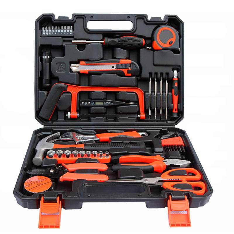 45 pçs kit de ferramentas garagem e casa com garra martelo chave alicate parafuso bits conjunto de ferramentas na caixa para escritório em casa quintal jardim