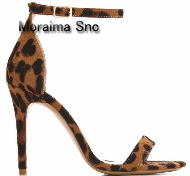 купить Moraima Snc brand 2018 ladies shoes Leopard suede shoes women buckle high heels sandals women sexy narrow band dress pumps 10 cm по цене 5307.2 рублей
