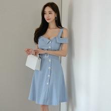 цена Women Backless Singer Button Evening Party Dress Spaghetti Strap Off-shoulder Midi Club Dress Women A-line Korean Dress Summer