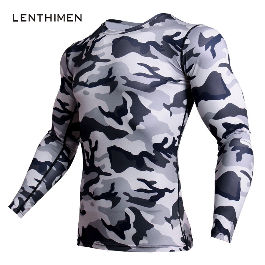 Mens Camo 3D T-Shirt MMA Rashguard Compression Shirt Men Gyms Fitness Bodybuilding T Shirt Crossfit Tight Long Sleeve Tshirt Men