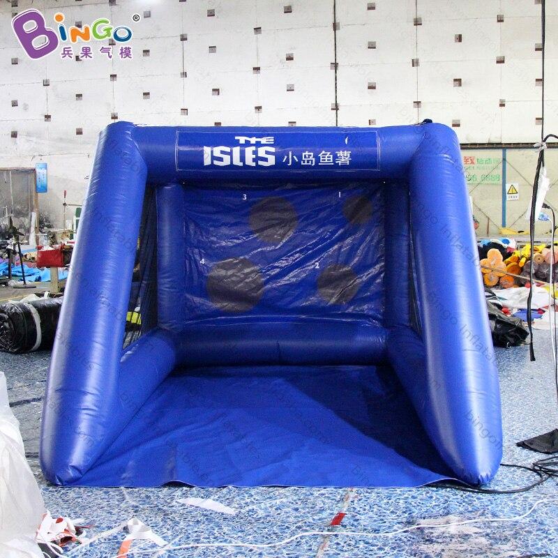Sortie d'usine 2.5x3.5x2 m coup de pied bleu gonflable de but de football pour la concurrence de jeu de football avec la marque adaptée aux besoins du client