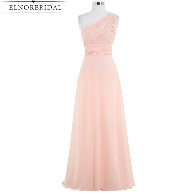 Blush Pink   Bridesmaid     Dresses   Long 2019 Cheap Maid Of Honor   Dress   A Line Chiffon One Shoulder Wedding Guest Gowns Robe Longue