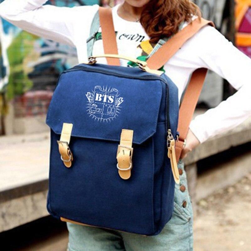 Bangtan Boys BTS mochilas kpop canvas backpack BTS school bag boys vintage bagpack women shoulder bags cute girls backpacks blu
