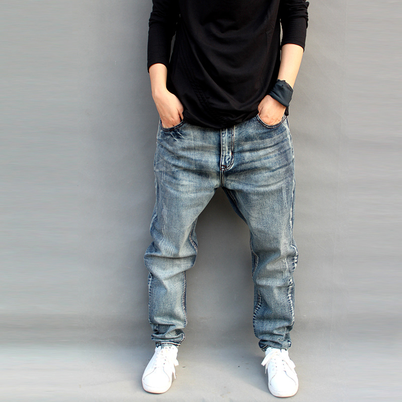 New Trendy   Jeans   Men's Loose Harem Pants Slightly Stretch Big Size Skateboard Baggy   Jeans   Male Trousres Cotton