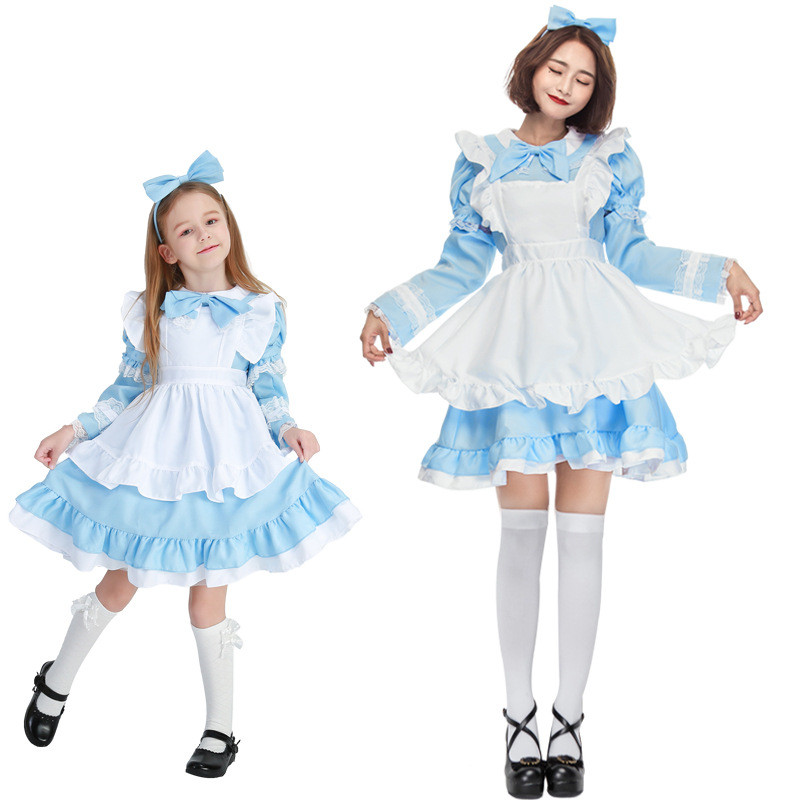 цены Mother Daughter Dresses Halloween Cosplay Lolita Style Costume Family Matching Outfits Princess Girls Dress Vestidos H0196