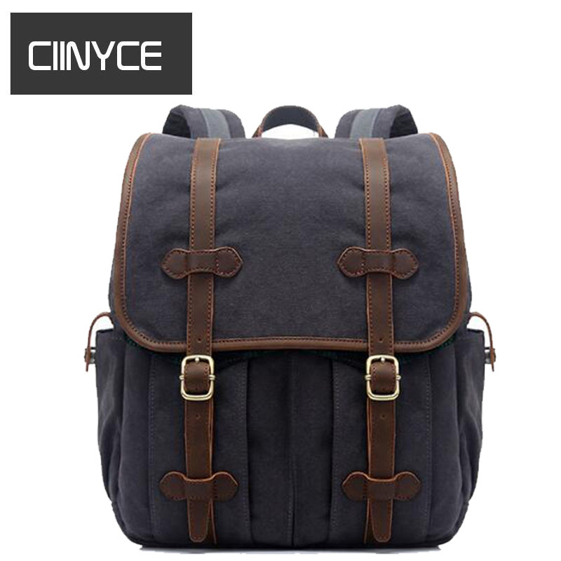 New Vintage Fashion Casual Crazy Horse Leather Canvas Women Men travel 14 inch laptop school Bac kpack Backpacks Shoulder Bags new gravity falls backpack casual backpacks teenagers school bag men women s student school bags travel shoulder bag laptop bags