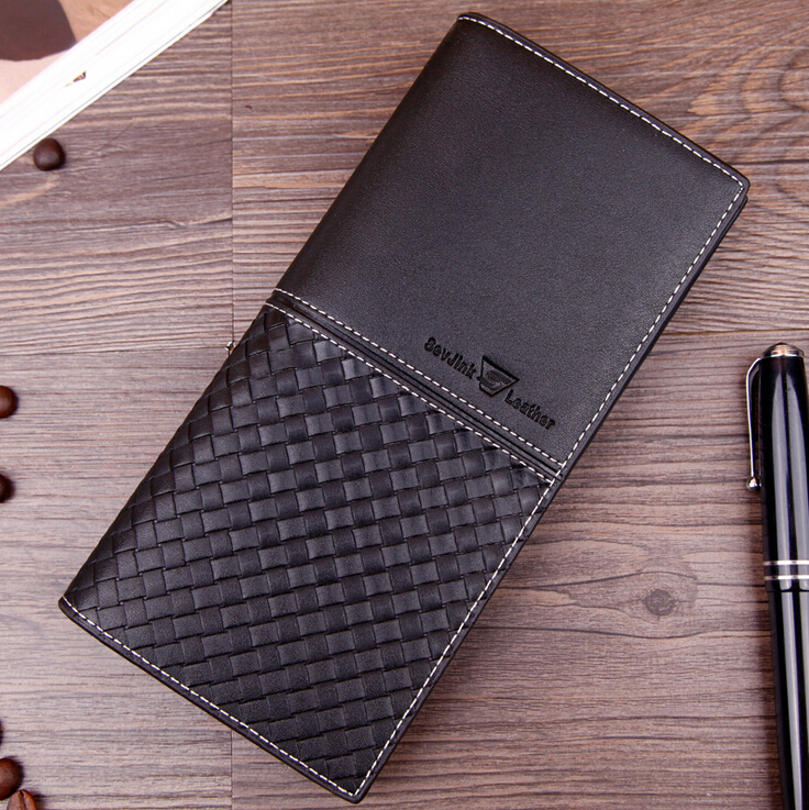 Long Style Men Wallets Black Plaid Weaving Pattern Wallet Soft Quality PU Leather Business Card Holder Purse Free Shipping lorways 016 stylish check pattern long style pu leather men s wallet blue coffee