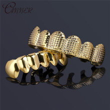 CANNER Hip Hop Mens 6 Top & Bottom Teeth Gold Silver False Grillz Set Bump Lattice Dental Grills Rapper Body Jewelry Gift