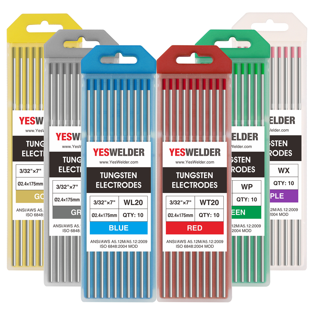2/% Thoriated WT20 Red TIG Welding Tungsten Electrode Assorted Size 1.~3.2mm,10PK
