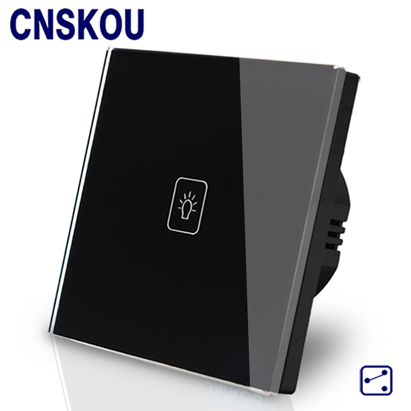 Cnskou  EU standard 1gang 2way  wall touch switches 1gang 2way electronic smart switch Gold crystal glass panel Manufacturer smart home uk standard crystal glass panel wireless remote control 1 gang 1 way wall touch switch screen light switch ac 220v