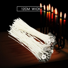 100pcs 12cm Candle Wicks Cotton Core Waxed Wick with Sustainer for Candle Making Home Party Decor