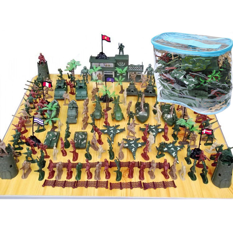 146Pcs Military Plastic Toy Soldier Army Men Figures & Accessories Playset Soldier Model Sandbox Game Model Toy For Kids Boys 170pcs set military plastic model toy soldier army men figures