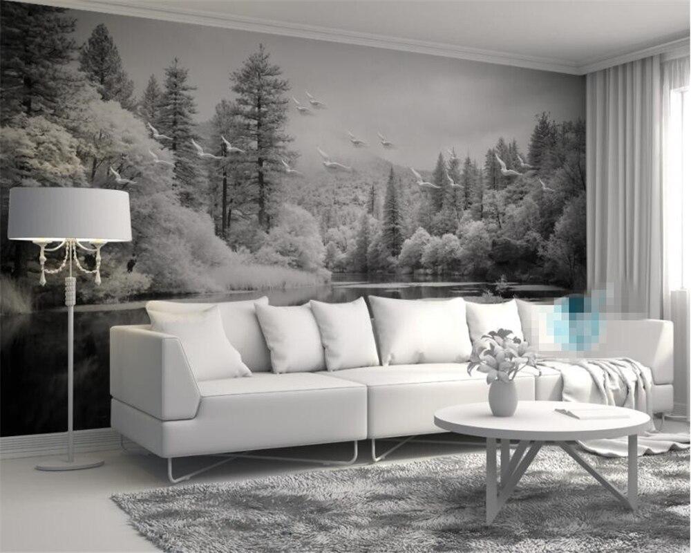 Custom Wallpaper Living Room Bedroom Fresco Nordic Black And White