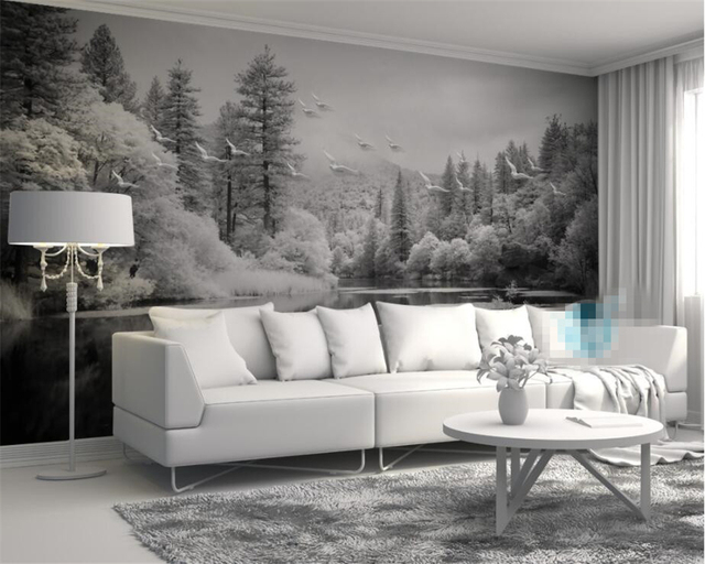 Custom Wallpaper Living Room Bedroom Fresco Nordic Black And White