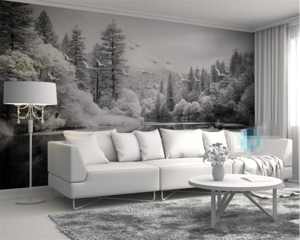 popular 3d black and white forest wallpaper buy cheap 3d black and custom wallpaper living room bedroom fresco nordic black and white forest lakes tv background wall mural