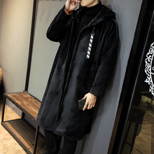 Fashion Casual Men's Coat Autumn And WinterNew M-5XLGold Velvet Thickening Loose Coat Jacket Gray Black PersonalityYouth Popular