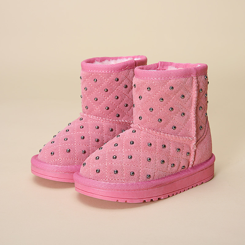 2017 Winter rivet children genuine lrather shoes kids font b snow b font font b boots