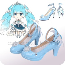 New 2019 Vocaloid Snow Miku Cosplay Shoes Lolita Blue Heels Halloween for Women/Girl Size 35-43