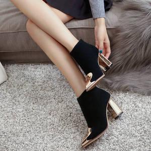 Image 5 - MORAZORA 2020 di alta qualità della mucca pelle scamosciata stivali da donna in pelle punta a punta stivali con zip alla caviglia per le donne di modo degli alti talloni scarpe nero