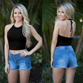 Hot tank tops women Solid Sleeveless Halterneck Tank Crop Tops Vest Blouse Shirt cropped crop top vetement femme S19