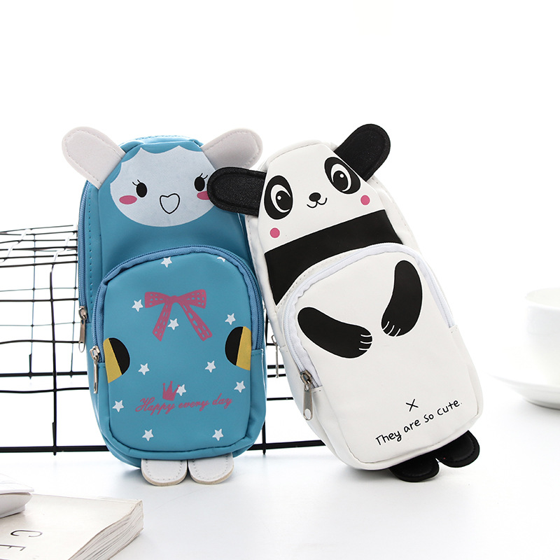 Cute animal schoolbag pen pencil bag Cartoon Panda Rabbit PU material storage organizer Stationery Office School supplies A6030 south korea stationery creative cartoon cute kitten pu wallet key bag storage material