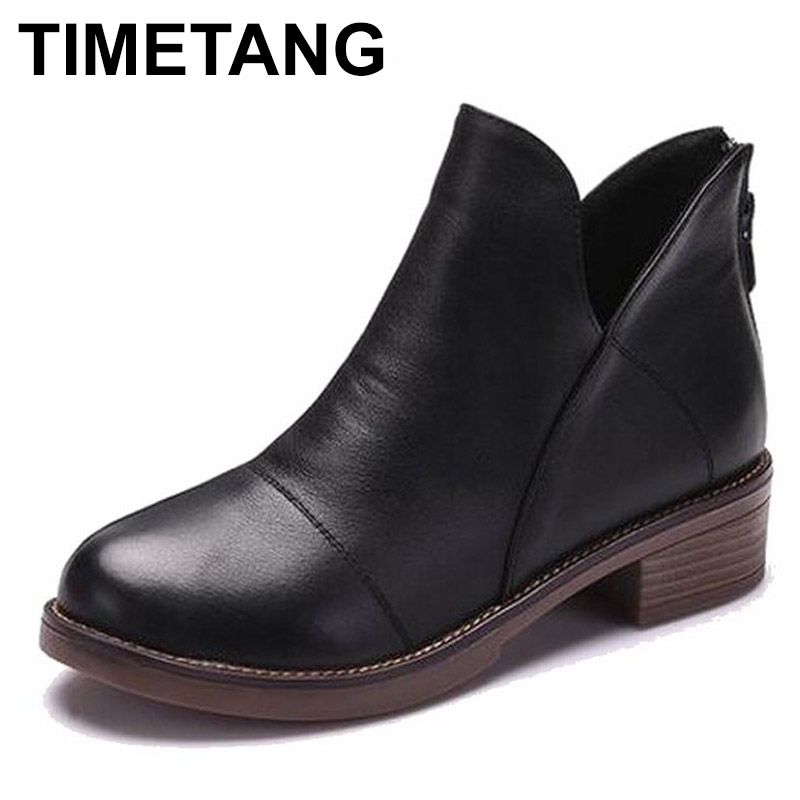 Horaires 2018 femmes mode Vintage en cuir véritable chaussures femme printemps automne plate-forme bottines femme Sexy bottes pour femmes
