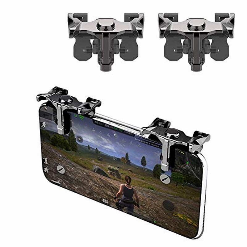 Portable metal trigger mobile game button for Pubg controller L1R1 mobile phone button handle for iPhone LG Samsung, etc.