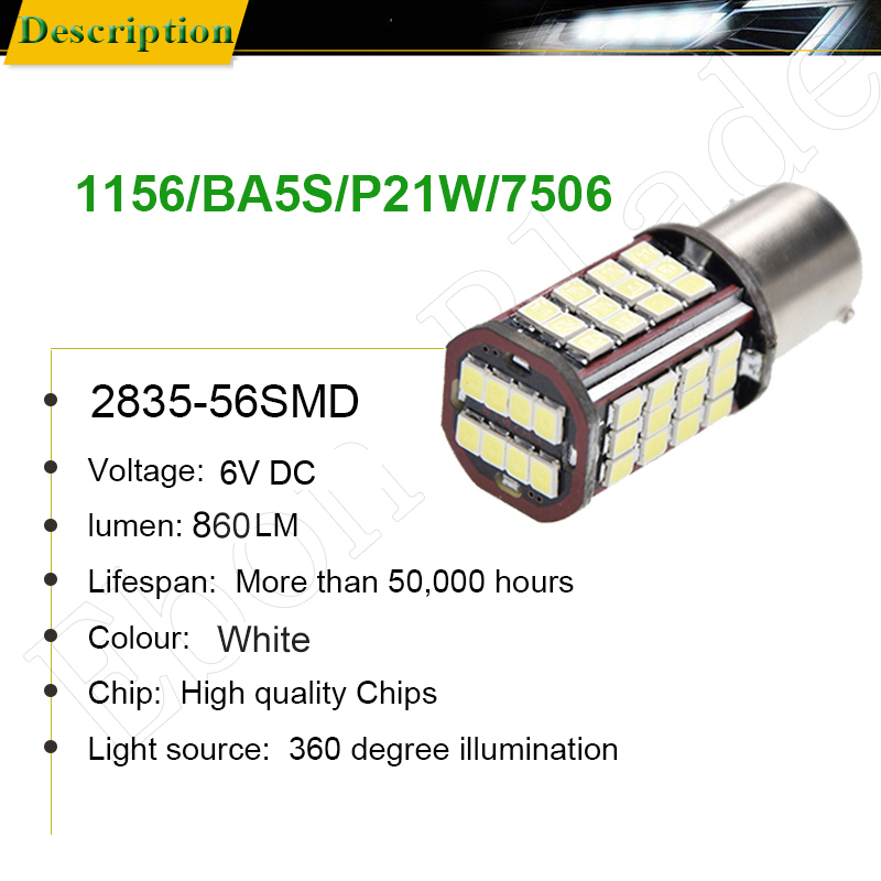 Image 2 - Pair 1156 BA15S P21W Led Auto Light 2835 56 SMD Lights Backup Reverse Turn Signal Bulb Lamp DRL Voiture Car Styling White 6V DC-in Signal Lamp from Automobiles & Motorcycles
