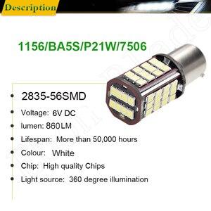 Image 2 - Pair 1156 BA15S P21W Led Auto Light 2835 56 SMD Lights Backup Reverse Turn Signal Bulb Lamp DRL Voiture Car Styling White 6V DC