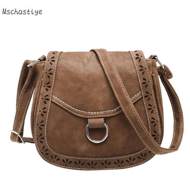 00037752c Mschastiye vintage solid Small Casual handbags women messenger bags PU  hollow out crossbody bags ladies shoulder bags bolsas