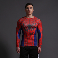 Batman vs Superman elastic long sleeve O neck t shirt Spider Man breathable shaping fast drying male fitness t shirt