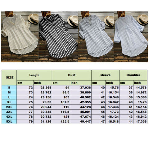 New Womens Summer Striped V Neck Blouses Loose Baggy Tops Cotton and Linen Button Down Tunic Shirts Plus Size Lahore