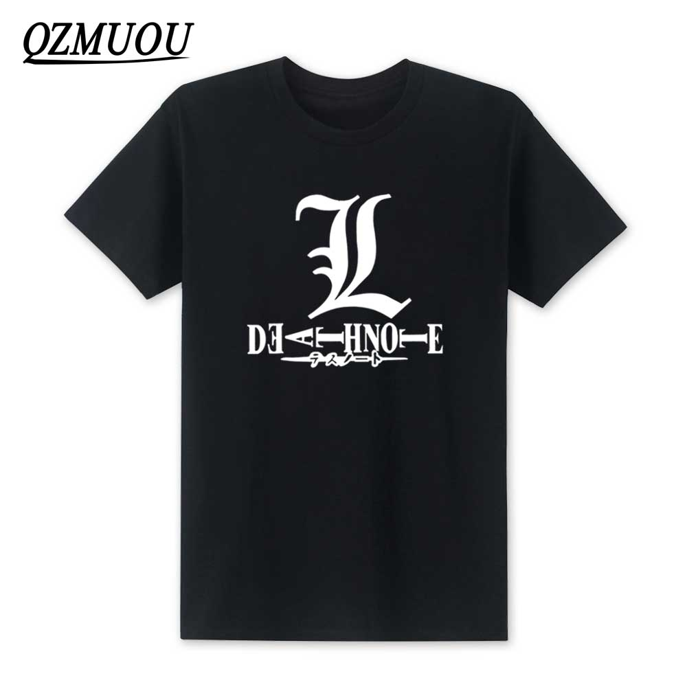 2018 New Summer Death Note T Shirt Men Short Sleeve O Neck Cartoon death note L T-Shirts Men Boys Top Tee European Size XS-XXL