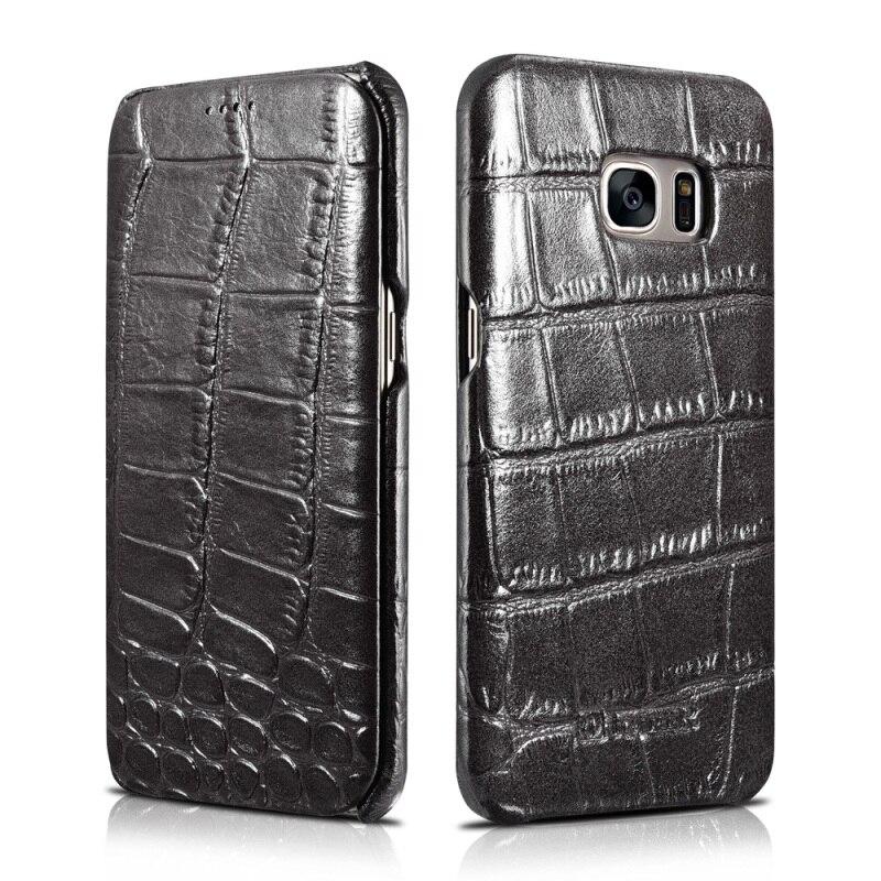 imágenes para Para Galaxy S7 borde Cajas Del Teléfono de Cuero ICARER Cocodrilo Cuero Genuino Caso del tirón para Samsung Galaxy S7 borde G935-5.5 pulgadas