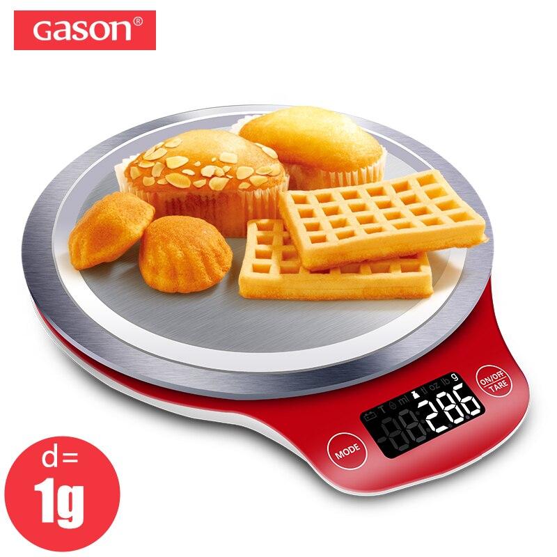 GASON C4 Mini Kitchen Scale Digital Gram Electronic Metal Balance Measure Tools Pallet Food Diet Precision LCD 5kg/1g
