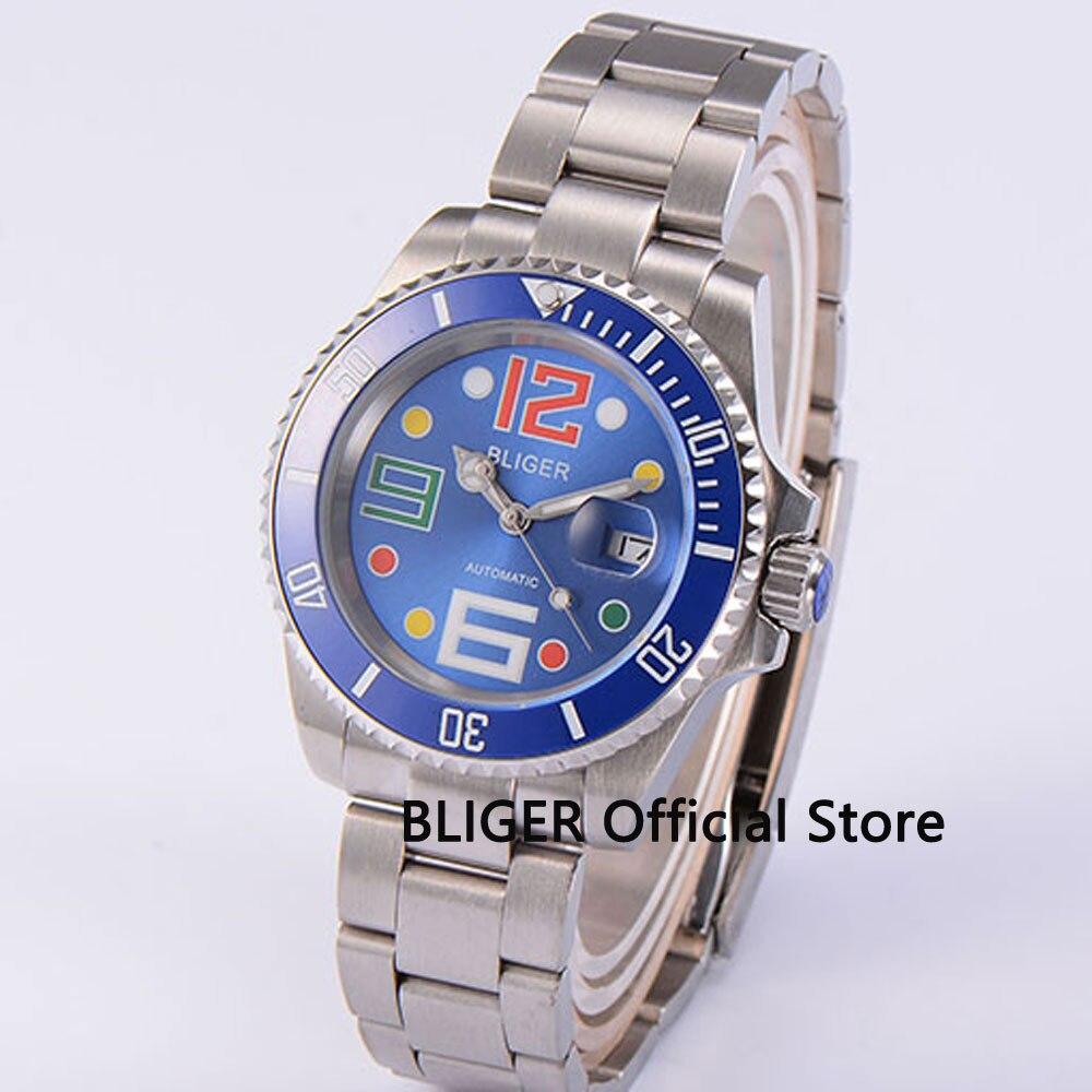 Solid BLIGER 40mm Blue Dial Blue Ceramic Bezel Stainless Steel Bracelet Sapphire Glass Miyota Automatic Movement Men's Watch B44 цена и фото