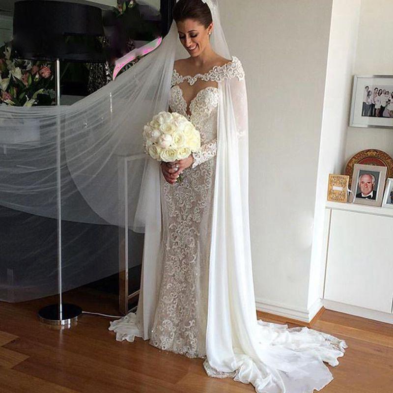 2019 Hot Sale Bridal Wraps White/ivory Chiffon Wraps Appliques Lace Wedding Jacket Bridal Cloak Lace Bridal Dress's Cape