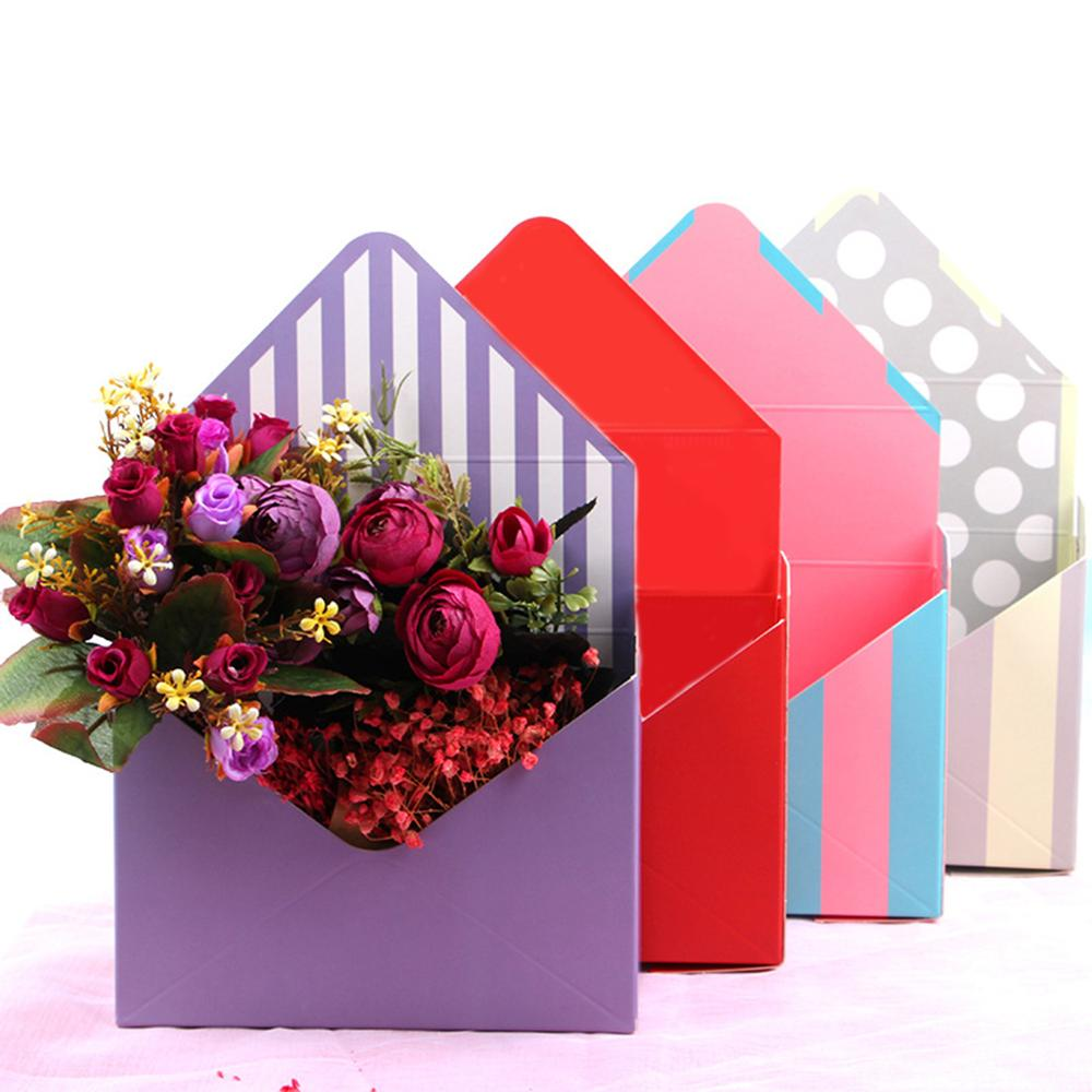 Creative Envelope Fold Flower Storage Box Wedding Engagement Party Decor Polka Dot Stripes Printed Paperboard Packaging Wrapping