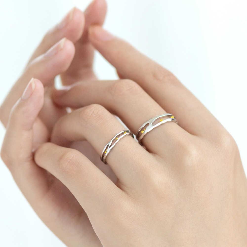 Thaya งานแต่งงานแหวน S925 เงินคลาสสิกคลื่นลูกปัดทองเครื่องประดับอินเทรนด์สุภาพสตรีแหวนสำหรับของขวัญผู้หญิง Elegant