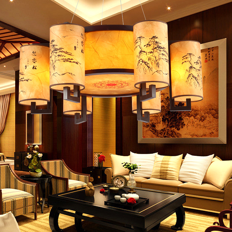 Modern Chinese Wood Circular Lamp Antique Chandelier Living Room Lights Sheepskin Restaurant Study Bedroom Hanging
