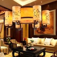 Modern Chinese wood circular lamp Antique chandelier living room lights sheepskin restaurant study bedroom hanging lamp