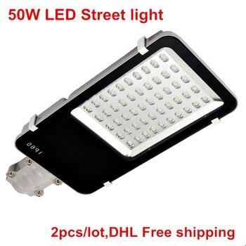 DHL Gratis Verzending 50 W Led-straatverlichting AC85-265V Warm Wit/Koud Wit LED Road Licht DC12V/DC24V LED Outdoor Straat Licht