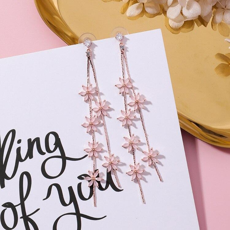 MENGJIQIAO 2018 New Korean Elegant Pink Flower Super Long Earrings For Women Fashion Simulated Pearl Tassels Drop Oorbellen Gift