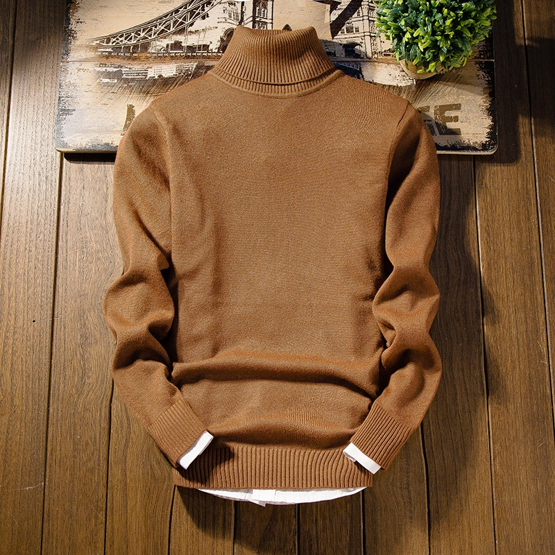 Tymhgt Mens Solid Color Long Sleeve Pullover Crewneck Knitted Sweater