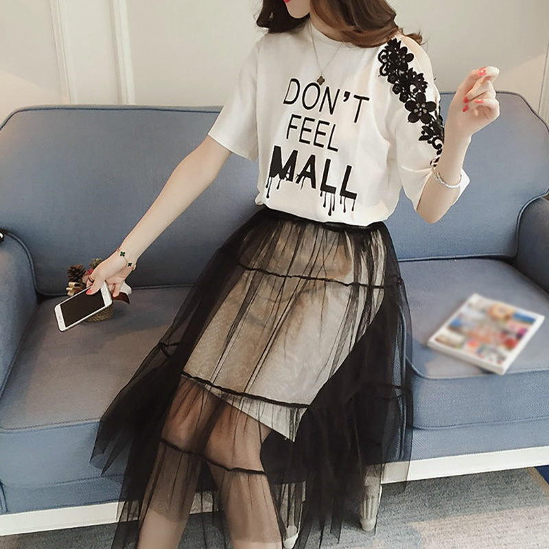 Summer O-Neck Letter Print Short Sleeve Embroidery Off Shoulder T Shirt Dress + Mesh Skirt Two Piece Set